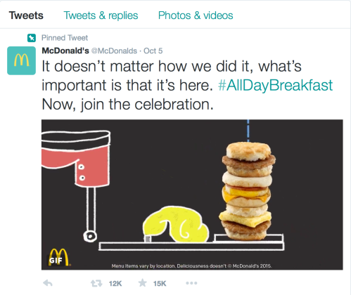 McDonalds All Day Breakfast Tweet
